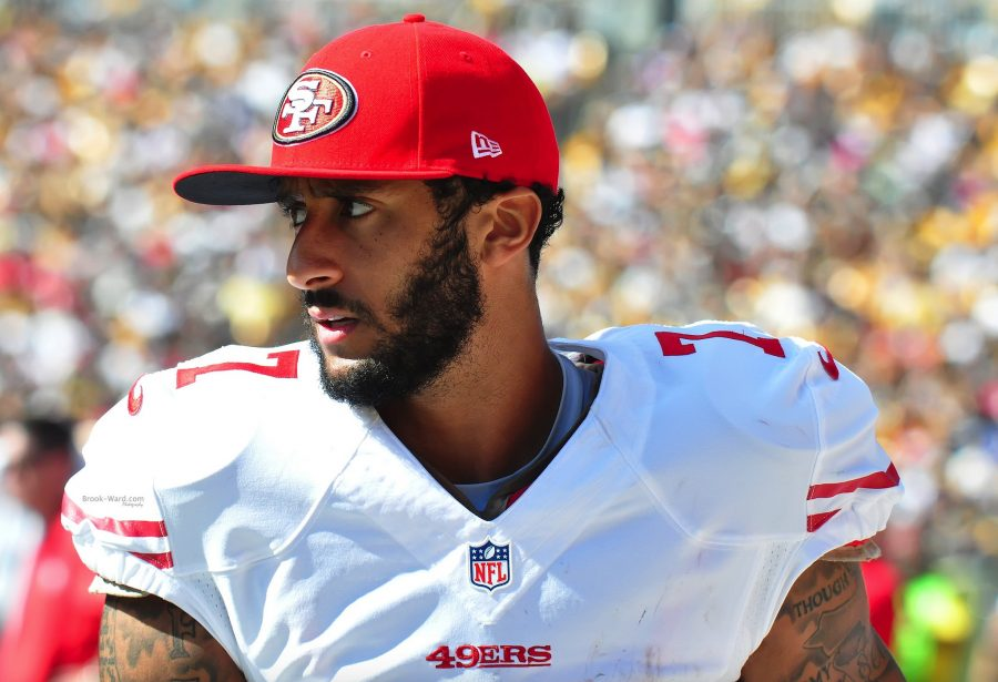 Refusing+to+stand+during+the+national+anthem%2C+Colin+Kaepernick+kicked-off+controversy+in+late+Aug.+Other+athletes+have+joined+Kaepernick+in+protest+of+racial+inequality+in+the+U.S.%2C+including+fellow+San+Francisco+49er+Eric+Reid.+%22I+am+not+going+to+stand+up+to+show+pride+in+a+flag+for+a+country+that+oppresses+black+people+and+people+of+color%2C%22+Kaepernick+told+NFL+media.+%22To+me%2C+this+is+bigger+than+football+and+it+would+be+selfish+on+my+part+to+look+the+other+way.%22+Photo+by+Brook+Ward+via+Flickr.+Used+under+Creative+Commons+license.+
