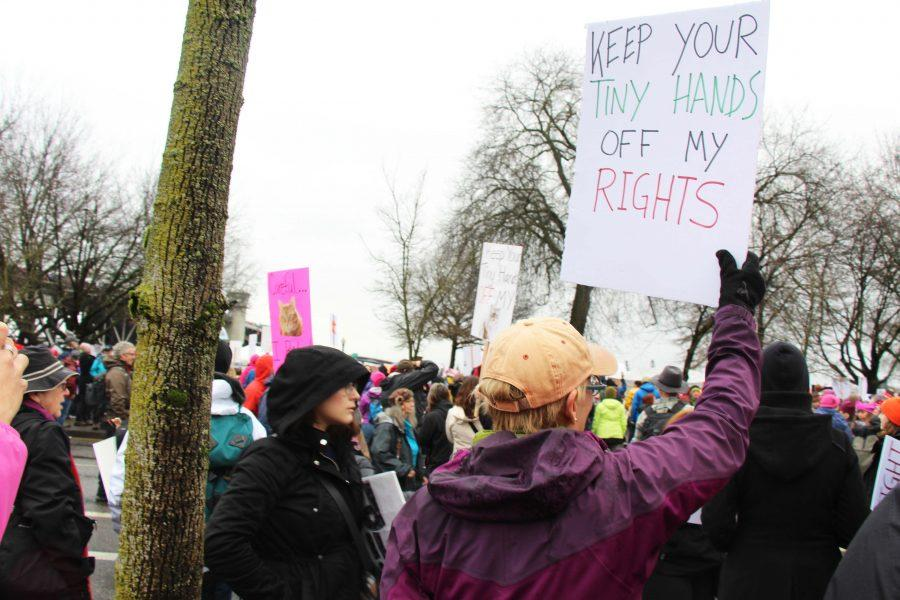 Protesters+swarm+the+streets+of+Portland+after+the+election+of+President+Donald+Trump+during+the+Women%27s+March.++They+protest+his+abilities+to+lead+our+country+and+his+policies+surrounding+human+rights.