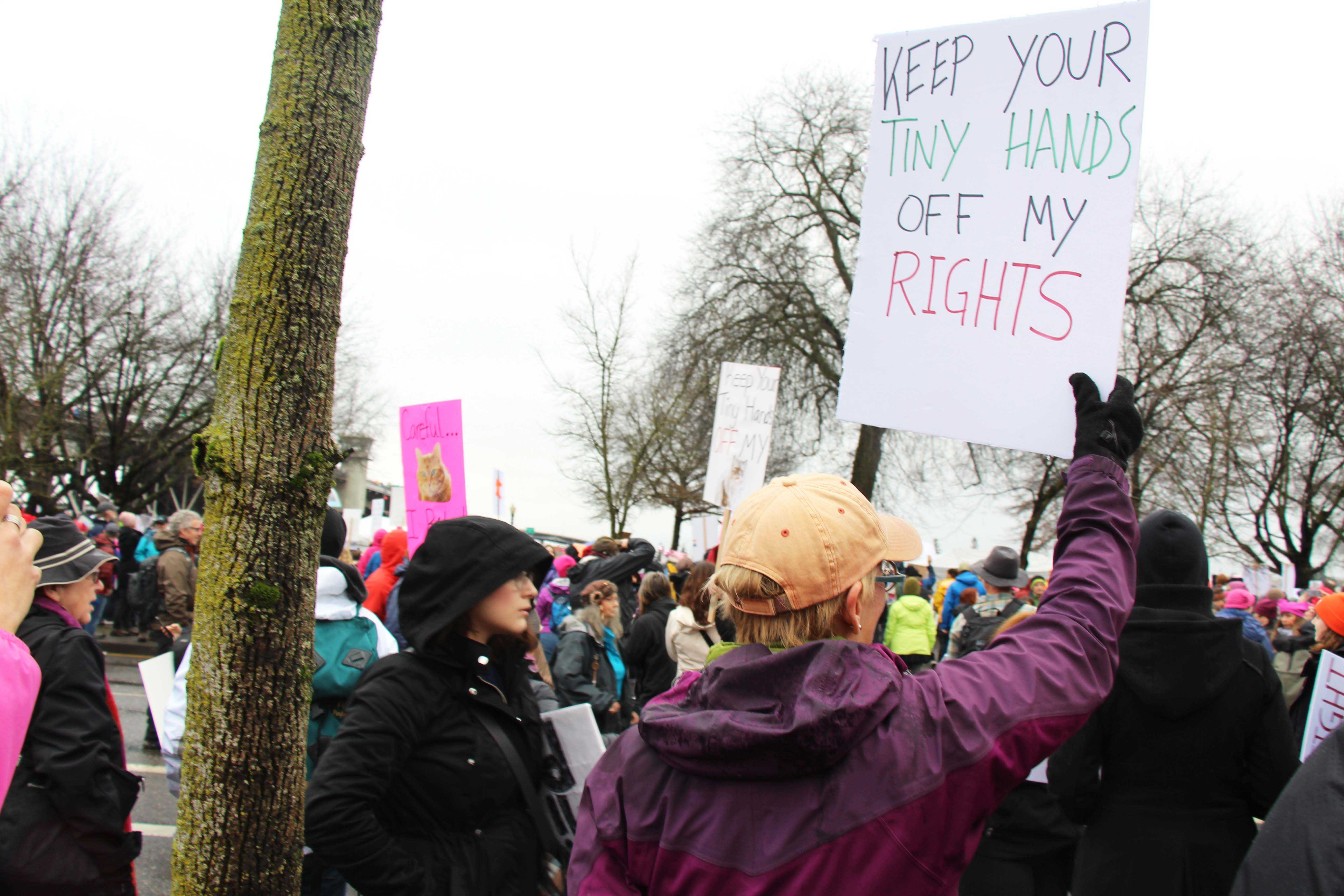 Protesters swarm the streets of Portland after the election of President Donald Trump during the Women's March.  They protest his abilities to lead our country and his policies surrounding human rights.