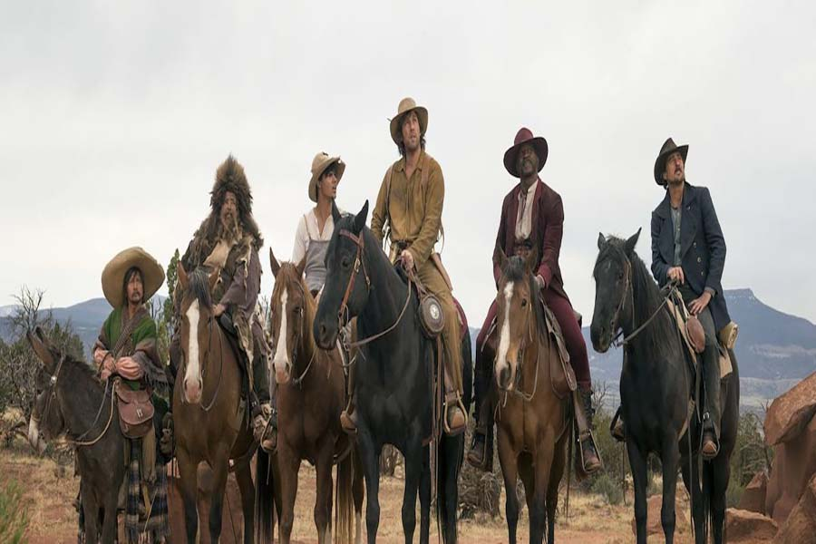 """The newest bad installment to Adam Sandler's line of poorly received films, """"The Ridiculous 6"""" (2016) features racist, offensive and an all around poorly thought out story. The brothers from left to right: Lil Pete (Taylor Lautner), Danny (Luke Wilson), Ramon (Rob Schneider), Herm (Jorge Garcia) and Chico (Terry Crews)."""