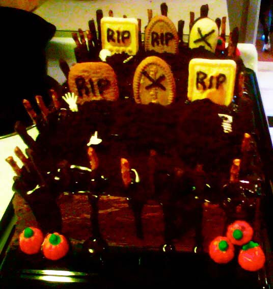 The Graveyard Cake is a delicious Halloween treat.