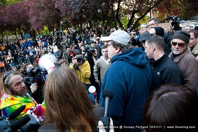 Michael Moore visits Occupy Portland to express support