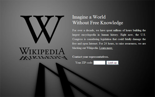 Wikipedia, Google and others blackout in protest to SOPA