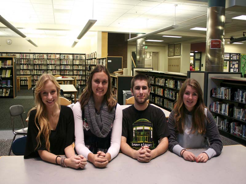 Morgan Haskin, Tabitha Pitzer, Nathan Weierich and Shiane Olsen-Kacalek, discuss important details regarding the letter drive that will be held on Nov. 17.  The drive will show appreciaton for our troops and will be held at the residence of Olsen-Kacalek. Contact Olsen-Kacalek for more details.