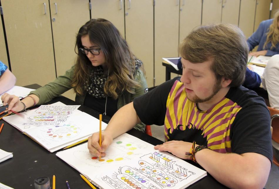 Linda Snyder, 9, and Peter McCoid, 11, work on their color scheme projects in art.