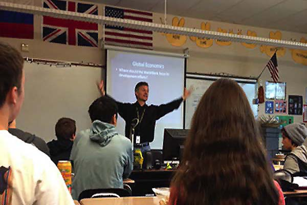 Todd Jones, social studies teacher, hosts Model U.N. every Wednesday at lunch. The students in Model U.N. this year will represent Sierra Leone and Australia in a conference that taking place in Eugene.