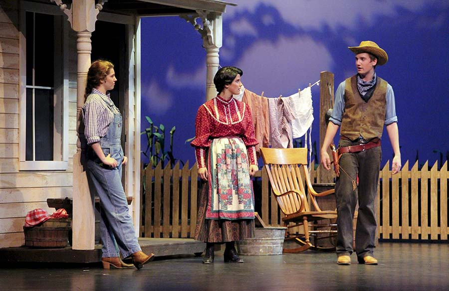 "Amber Mitchell, junior, Ellie Jones, senior, and Sorren Carr, junior, were all leads in the schools play ""Oklahoma."" ""Oklahoma"" details a love story between two characters."