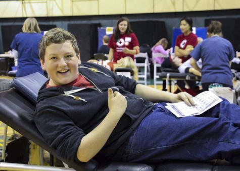 Ian Mathes, junior looks forward to giving blood during the last West Linn High School blood drive. WLHS students will have the opportunity to save up to three lives by donating blood on Feb. 25.