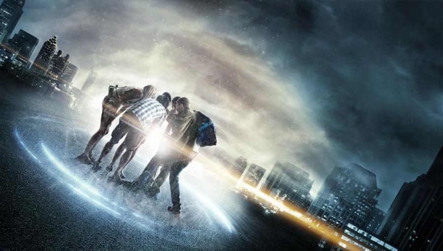 "Jonny Weston, Sam Lerner, and Sofia Black-D'Elia being sucked away to the past in the film ""Project Almanac."" The group proved what teenagers would do if able to travel in time."