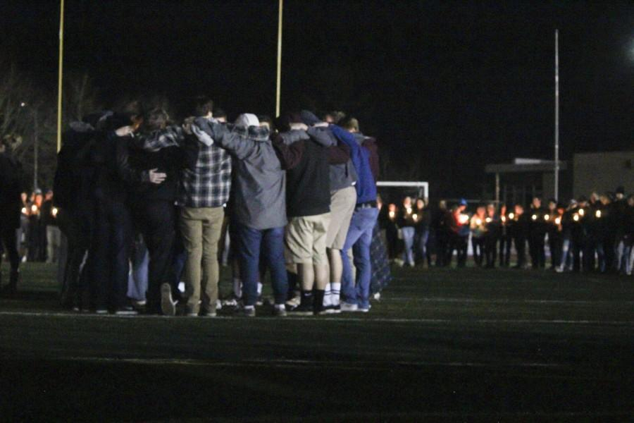 Students+at++WLHS+gathered+Saturday+night+on+the+football+field+to+mourn+the+loss+of+their+classmates+Cooper+Hill+and+Antonio+Caballero%2C+juniors.+Sadie+Hawkins+was+cancelled+shortly+after+the+news+of+the+accident.+Currently+no+plans+are+being+made+to+reschedule+the+dance.+