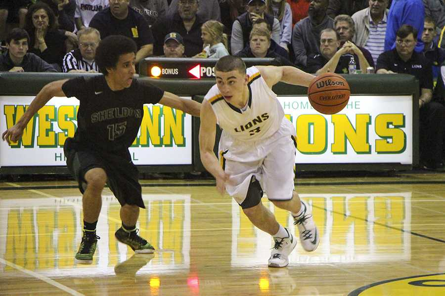 Payton Pritchard, junior, led the Lions with 30 points in a win over Sheldon at home.