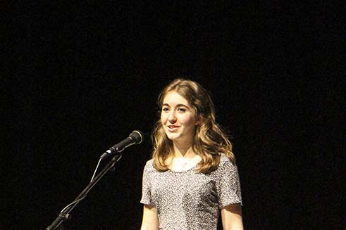 Riley Knowles, sophomore, competes in West Linn High School's Poetry Out loud Competition in Feb. Knowles won the school competition, placed in the top three at Regionals and placed second in State.