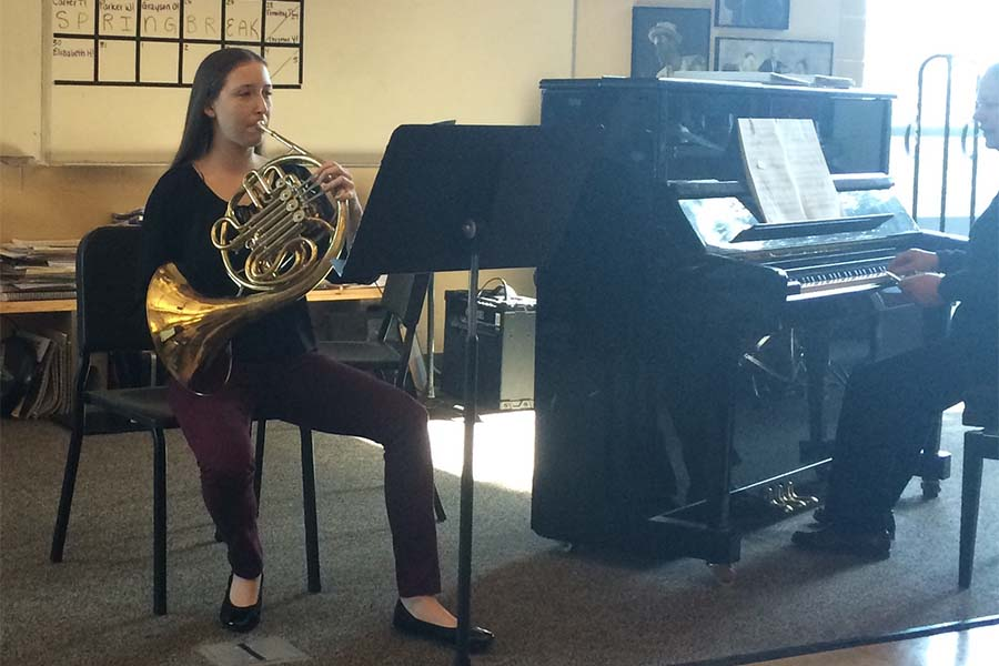 """Lauren Griffith, freshman, plays """"Romanze"""" from Mozart's Third Horn Concerto. She participated in the Solo and Ensemble competition at WLHS on March 7."""