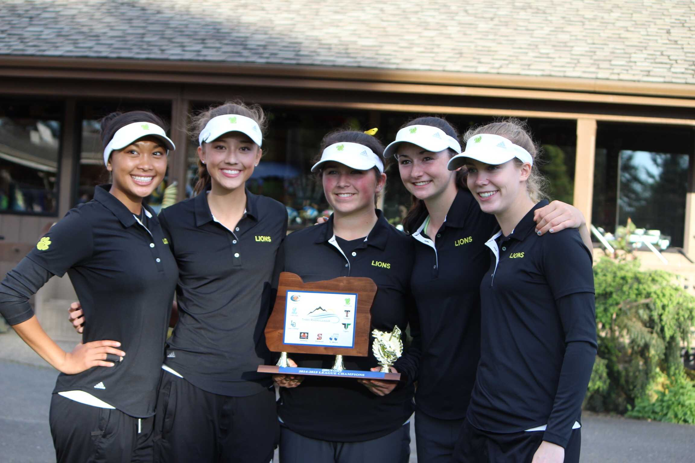 Tya Seth, freshman, Summer Marshall, sophomore, Maggie Peters, junior, Amanda Elich, junior and Chloe Barnes, junior, win the Three Rivers League Title.  They will next compete at State May 18-19.