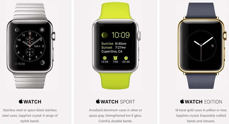 Apple makes three main variants of its smartwatch: the Watch, Sport and Edition. They range in price from $349 for the Sport up to $17,000 for the most expensive Edition. (Photo Source: www.macrumors.com)