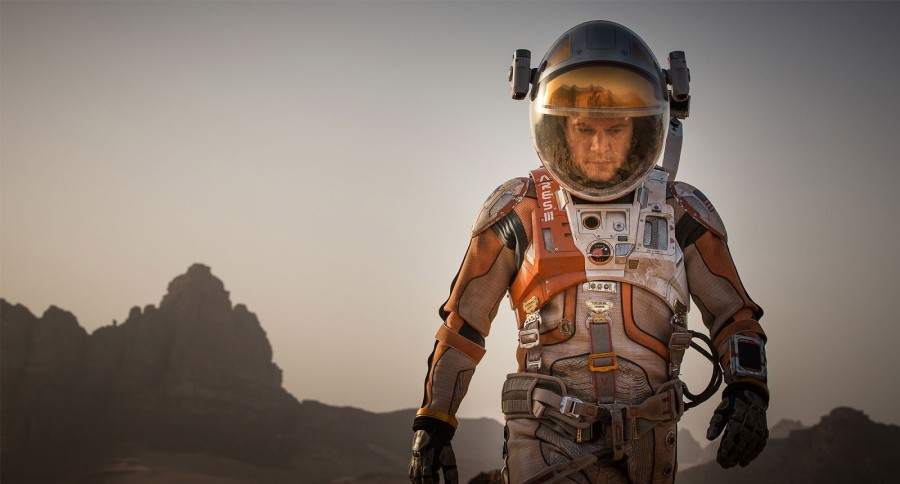 Mark+Watney%2C+played+by+Matt+Damon%2C+traverses+the+martian+landscape+after+being+marooned+on+Mars.+%E2%80%9CThe+Martian%E2%80%9D+earned+%2455+million+dollars+in+its+opening+weekend+with+a+budget+of+%24108+million.+%0A