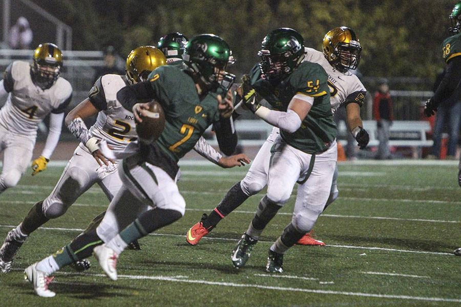 Contributing to the first playoff game win, Tim Tawa, 11, threw five touchdown passes on Nov. 6. West Linn beat Roosevelt 41-6 and will continue to the next round of playoffs.