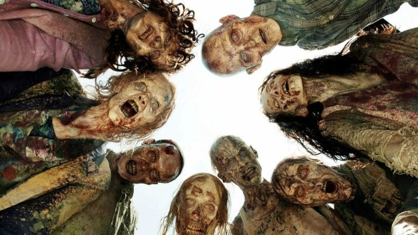 "Walkers surround the characters in peril. ""The Walking Dead"" returns to AMC every Sunday night."