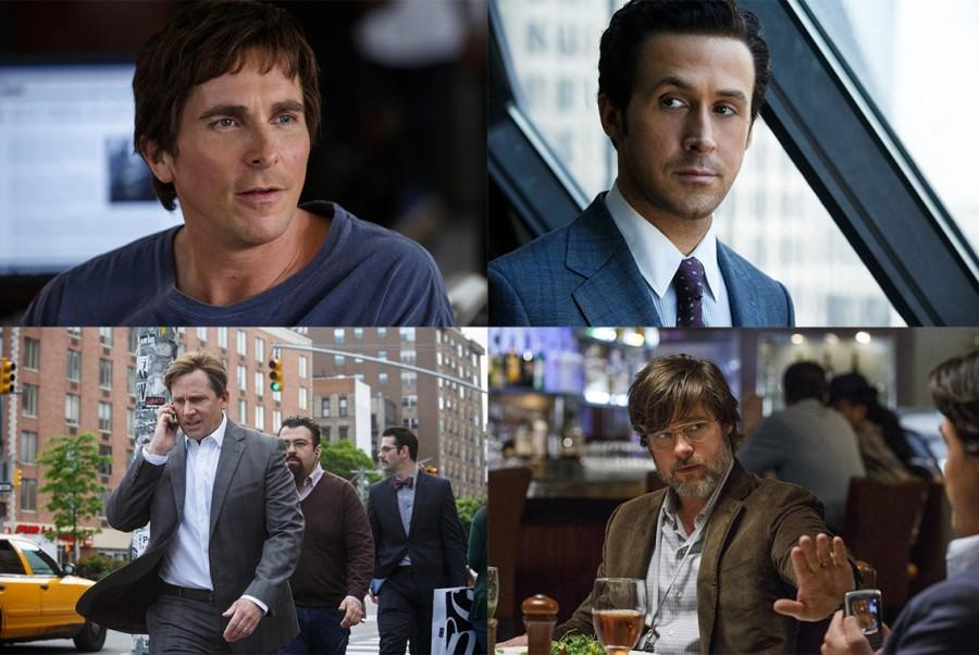 "From top-right with Ryan Gosling and moving clockwise, Brad Pitt, Steve Carell, and Christian Bale embody their real world counterparts in ""The Big Short."" Depicting the housing market crash of 2008, ""The Big Short"" landed in theaters in 2015, and received excellent ratings across the board. The film has been nominated for an Oscar for best picture, since its release."