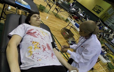 West Linn student donates blood in a previous blood drive. This year WLHS is hosting a third blood drive specifically for seniors and select juniors.