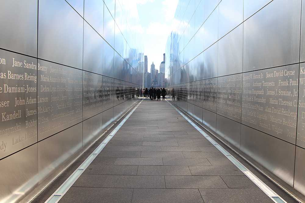 Singers from the choir program admire and walk through the windy passage of the Empty Sky Memorial to the 9/11 tragedy after their ferry to the Statue of Liberty is cancelled. The five day trip to N.Y. included many powerful and impactful experiences such as how the singers visited multiple memorials for 9/11, the Broadway shows they experienced, and visiting the awe-inspiring chapels and cathedrals scattered around the huge city.