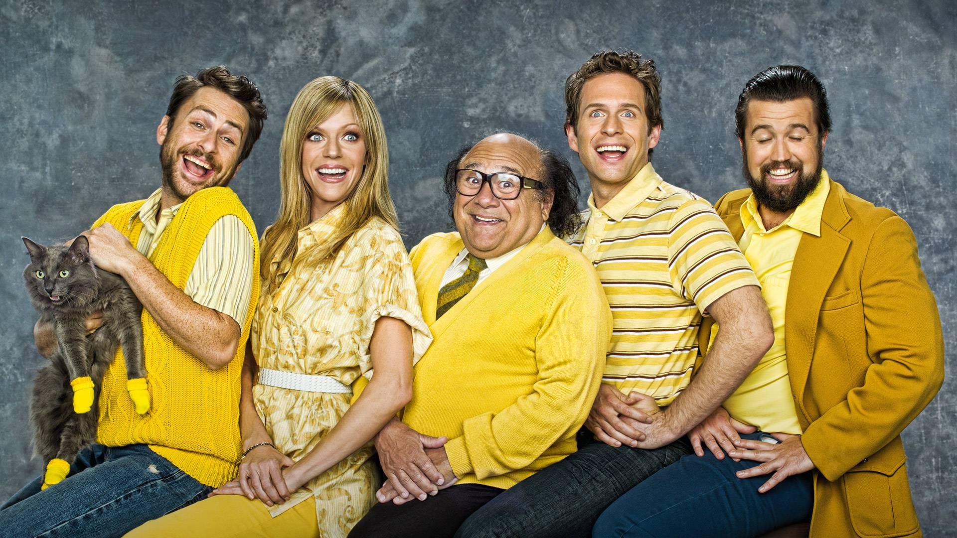 """The cast of """"It's Always Sunny"""" (from left to right): Charlie Day, Kaitlin Olson, Danny DeVito, and creators Glenn Howerton and Rob McElhenney."""