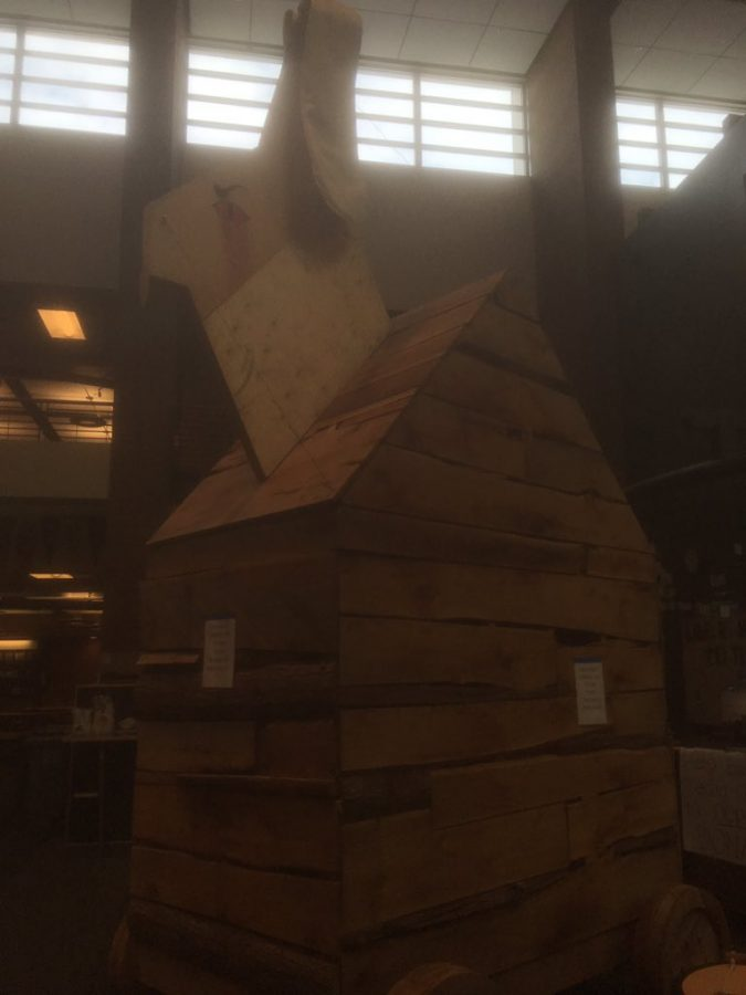 The large wooden rabbit surprised students this morning by standing tall in the library. The rabbit is a result of the class of 2016's senior prank