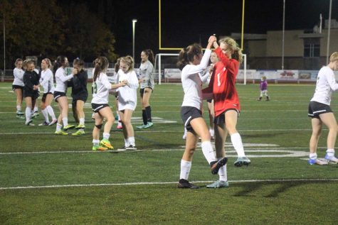 Girls soccer underclassmen celebrate Seniors