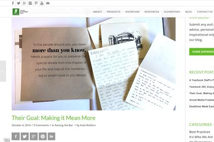 National Blog Features It Means More Yearbook Theme