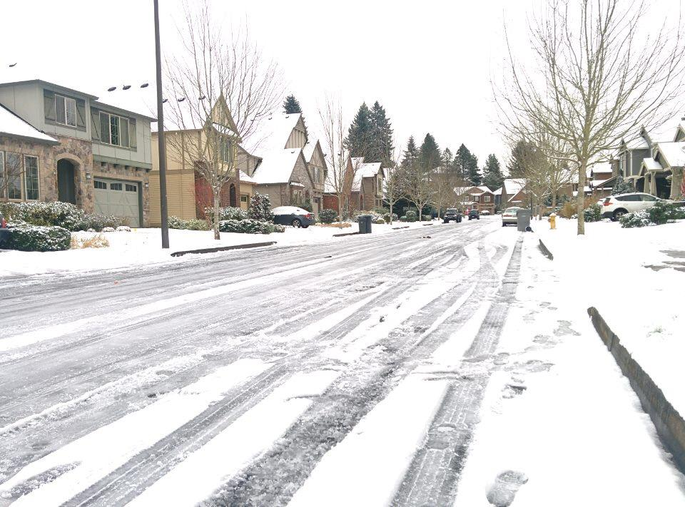 Icy neighborhood streets like those in Arbor Cove prevented residents from traveling safely