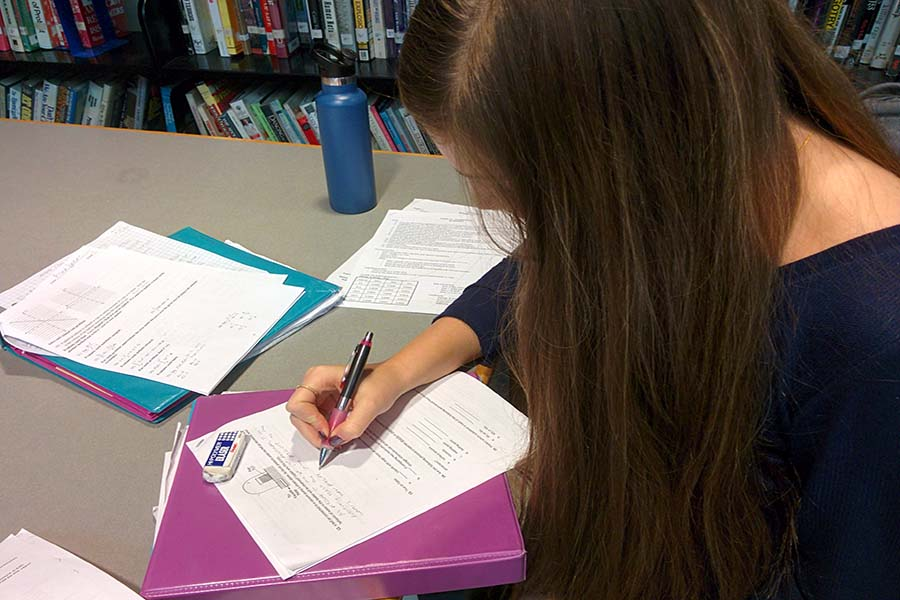 Anna Spear, junior readies herself for her Calculus AB final by reviewing the reviews. Completing and reviewing finals are just one of the ways to prepare for semester exams.
