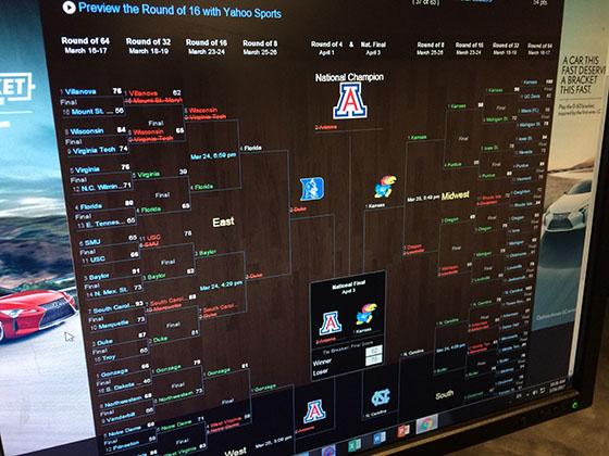 One of the many brackets busted by the latest March Madness game. Students have spent the past week watching their bracket change for better and for worse.