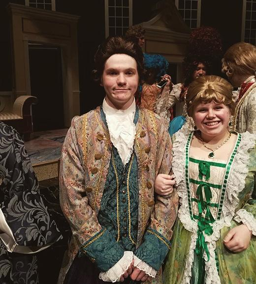 Photo Courtesy of Brady McDevitt Cast members Zebe Loun, senior, and Brady McDevitt, junior, run through one of their final rehearsals of the spring play,