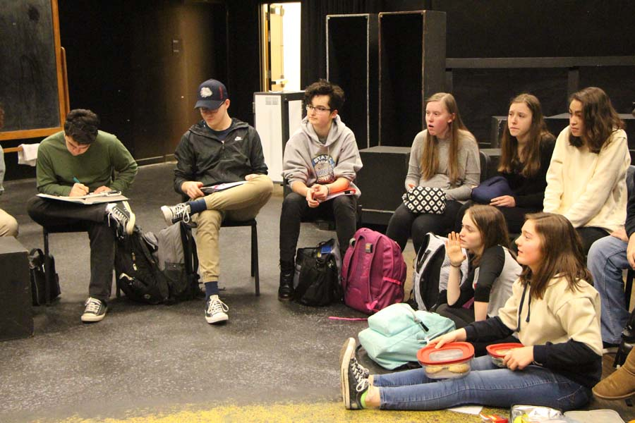 "The school's thespian troupe meeting during lunch while discussing future productions, the state thespian competition and the responses to their regular questionnaires. Both Linda Snyder, senior, and Deanna Plunkett, senior, were able to answer questions regarding future events involving the arts, along with discussing interesting plays or other artistic forms they urge other students to see. ""Both Deanna and I run meetings every Thursday and organize all events happening in the department."" Linda Snyder, senior, said."