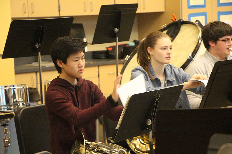 Symphonic band performs at Tualatin High School for their league competition. At the competition, all of the schools gathered to perform a tribute for a Newberg band student.