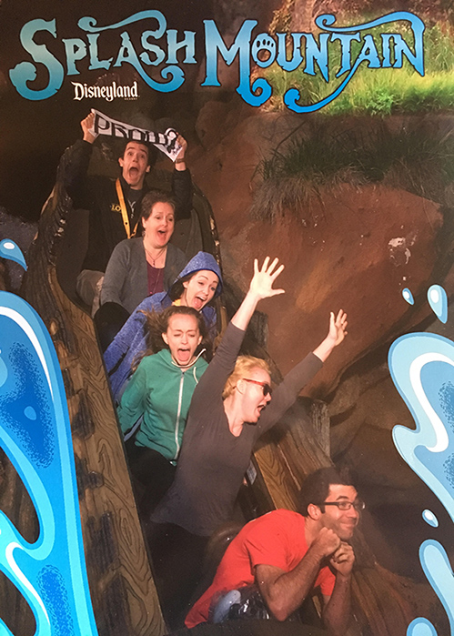 Matthew Lewis (sixth) promposing to his girlfriend Tina Glausi (fourth) on Splash Mountain in Disneyland with the rest of the Glausi family.