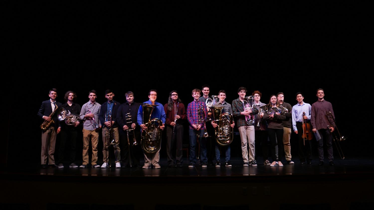 Musician competing in the solo and ensemble contests shared their pieces in the Performing Arts Center on April 26. From left to right: Will Glausi, junior; Jonathan Zilk, senior; Ryan Conrad, senior; Neil Yotsuya, senior; Jesse Anderson, sophomore; Eli Dodd, sophomore; Joaquin Socolofsky, senior; Henry Baumgardner, senior; Sheridan Hardy, junior; Carson Bradford, sophomore; Rhys Brunetto, sophomore; Jake Nielson, senior; Lauren Griffith, senior; Noah Gardner, senior; Eaton Lin, senior; Max Becker, junior.
