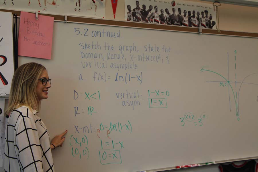 "During Teacher Appreciation Week, Teale Iacolucci, has a special smile on her face while teaching her Advanced Algebra class. Her students applauded her as she walked in the classroom that morning to show their appreciation for her. When she realized she wanted to become a teacher she knew she had to teach here. ""I did my student teaching here,"" Iacolucci said. ""Both my grandpa and mom graduated from here. I love being a teacher; I couldn't imagine doing anything else."""