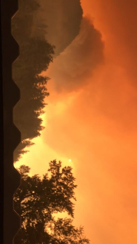 Fire blazes across the Columbia River Gorge. Smoke from the fires is a hazard to health of people living in the surrounding area, causing sports and other outdoor activities to be postponed.