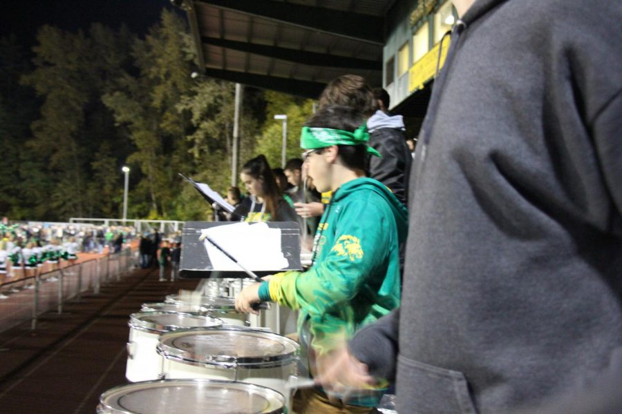 Sound of War. West Linn pep band fires up both the crowd and our mighty Lions. Photo by Aleks Brooks