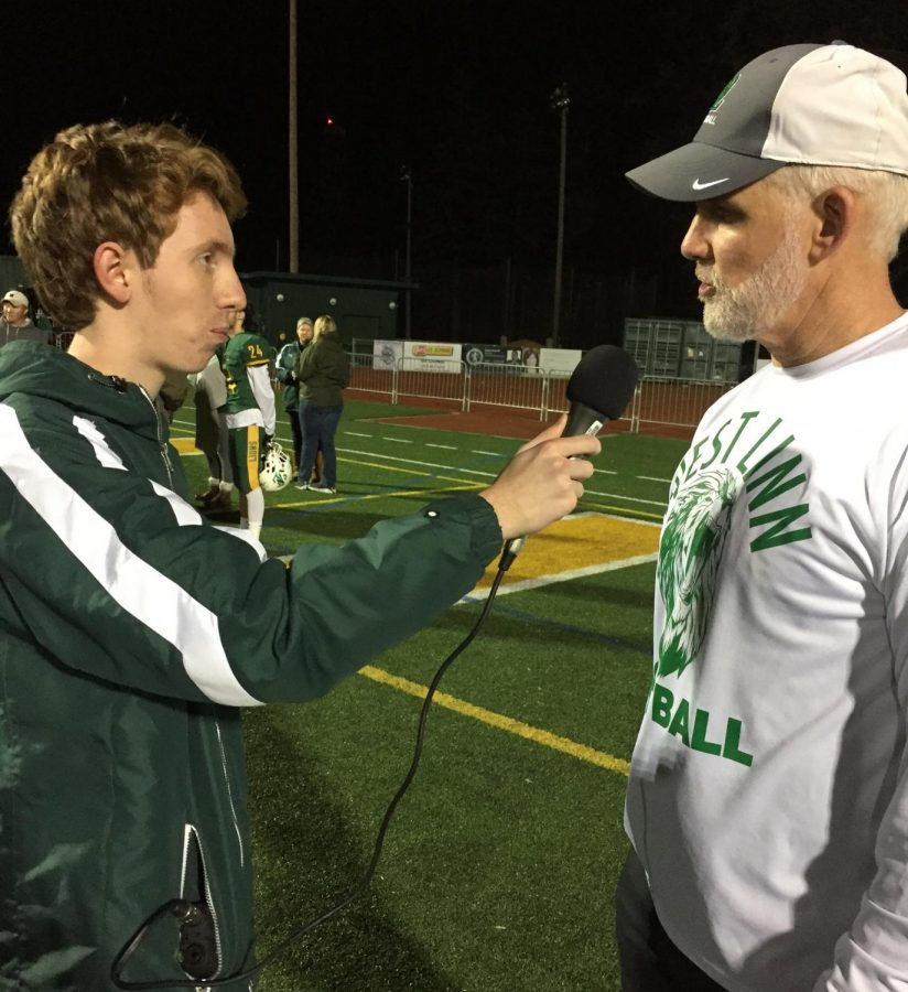Rory Bialostosky (left) and Head Coach Chris Miller chat postgame.