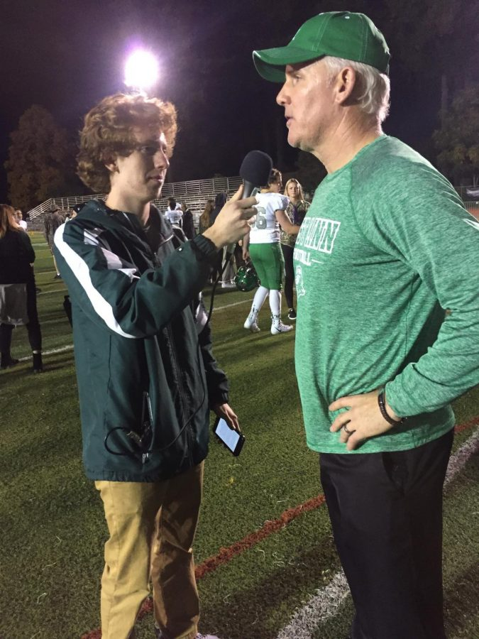 Rory Bialostosky (left) interviews Chris Miller on Oct. 27th following a win over Canby High School.