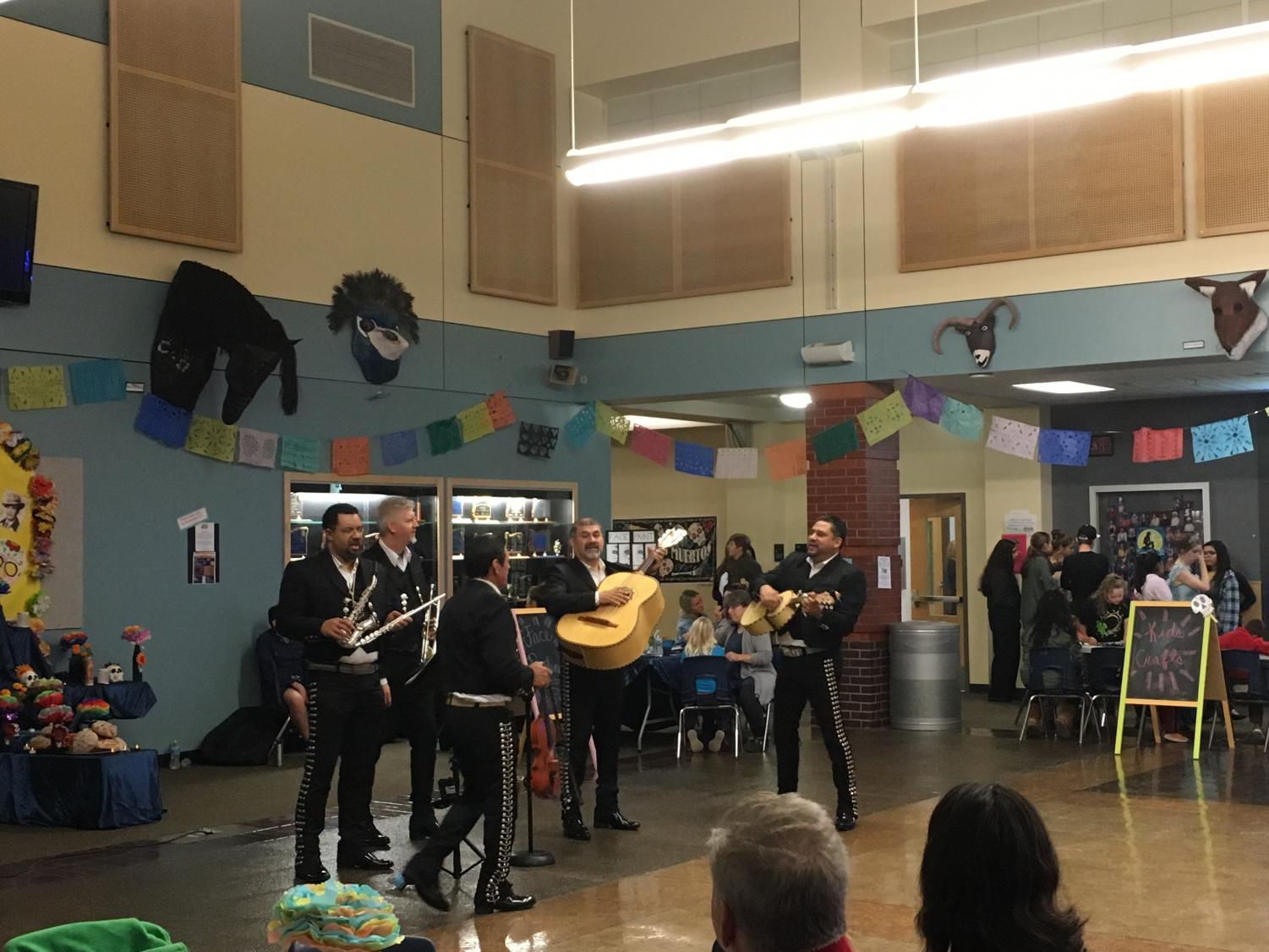 A mariachi band performs at the Dia de los Muertos celebration at Wilsonville High School. The celebration had quite a few students of our own in attendance.