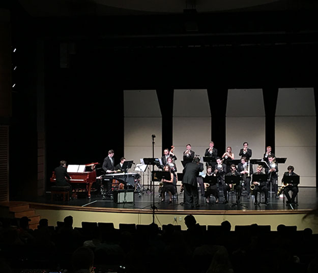 The top jazz band performs at the Three Rivers League Jazz Festival, where they took first place.