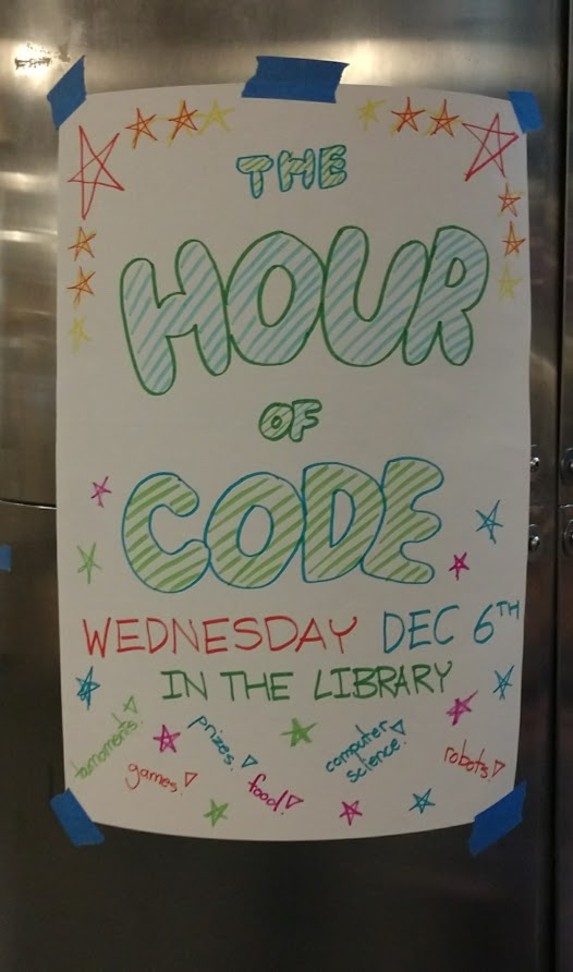 An Hour of Code poster advertises the upcoming event.
