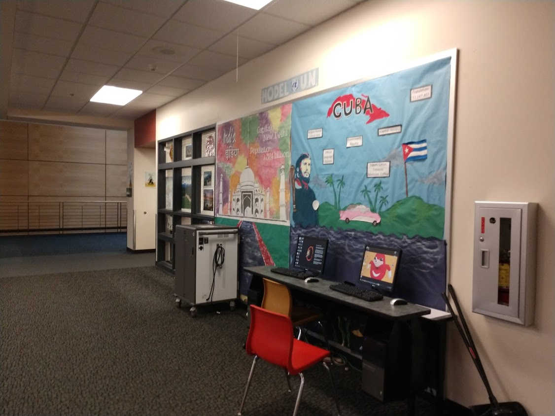 Model UN's informational poster, updating the school about what they do.