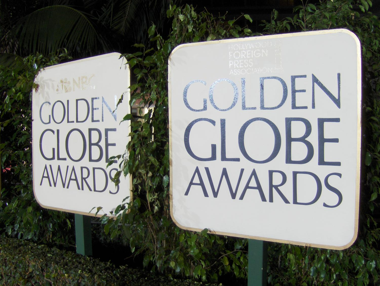 Show me a sign: Picket signs stand outside of the 2018 Golden Globes. You can see the NBC logo on the sign on the left, the TV company that presents the awards each year.