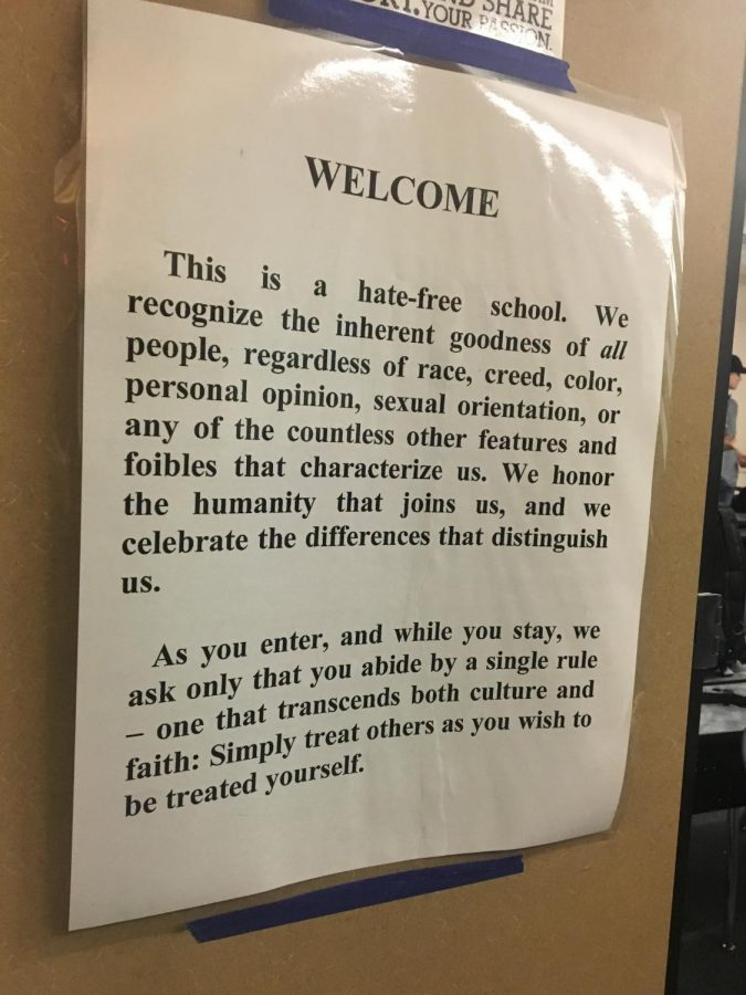Poster in Mrs. Dickinosn's  classroom providing a warm  welcoming  environment.