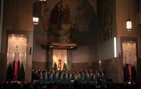 Continuing the long held tradition of singing at the Grotto during their Christmas celebration, symphonic choir partners with the acapella group Fresh Pitch to put on a grand performance.