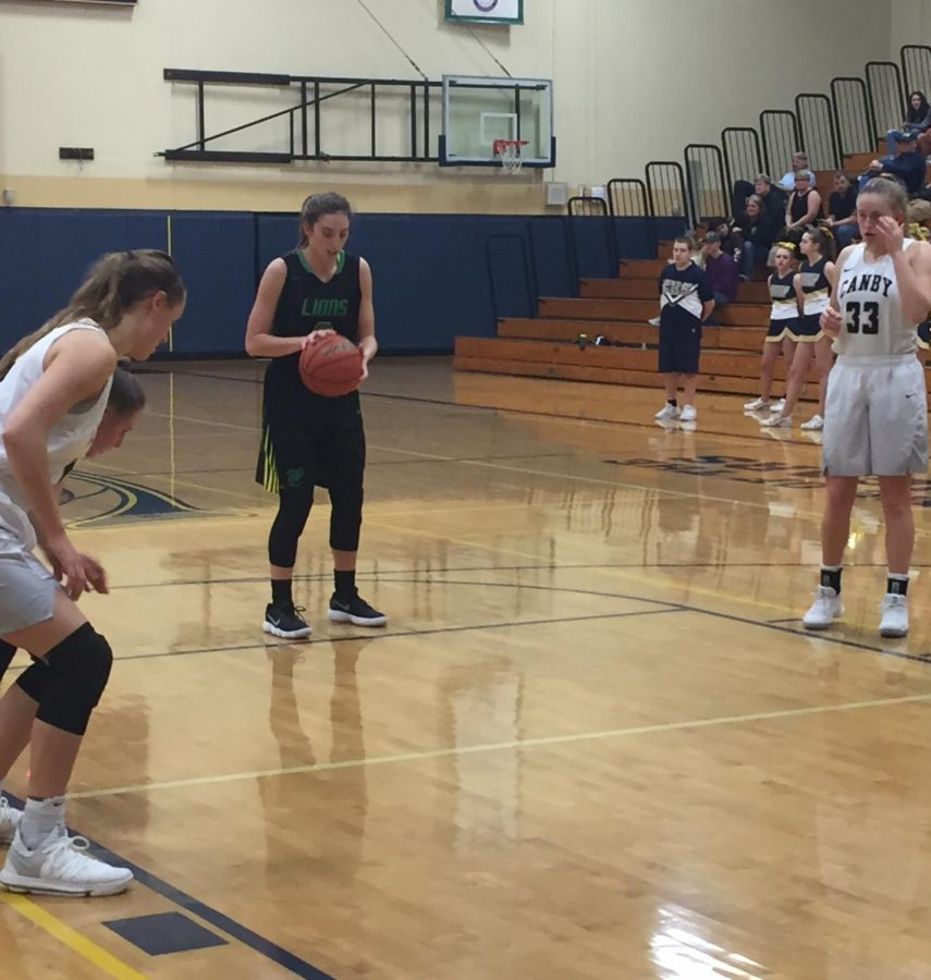 Lexie Pritchard prepares to shoot a free throw after making a layup and drawing a foul in the fourth quarter. (Photo by Rory Bialostosky)